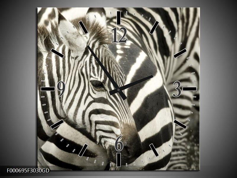 Wandklok op Glas Zebra | Kleur: Zwart, Wit, Grijs | F000695CGD