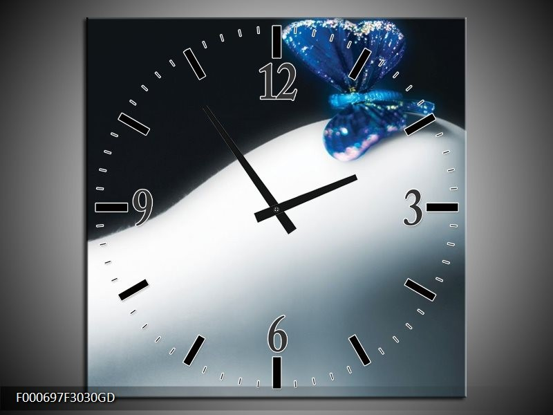 Wandklok op Glas Vlinder   Kleur: Blauw, Wit, Zwart   F000697CGD