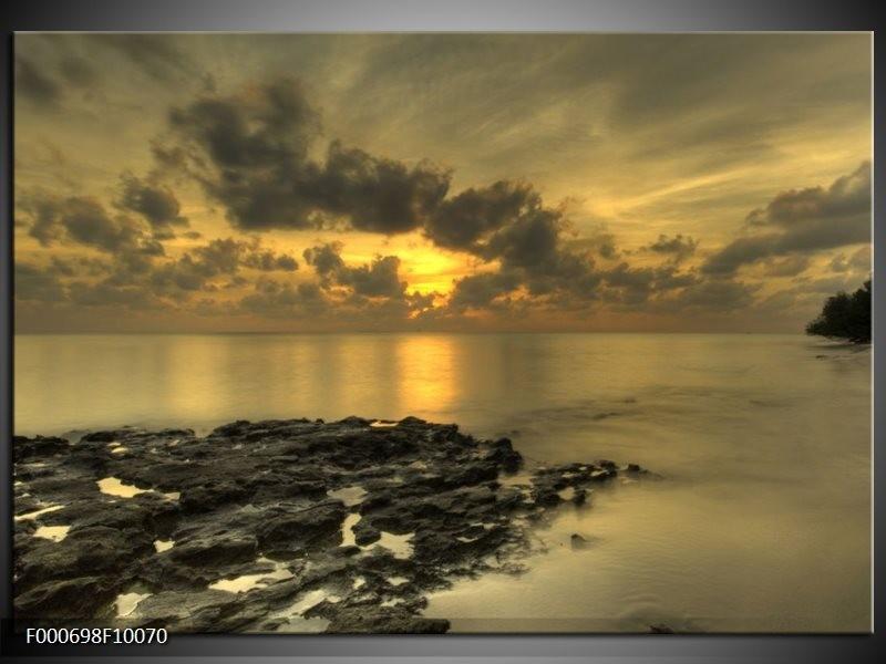 Glas schilderij Zee | Geel, Grijs, Zwart