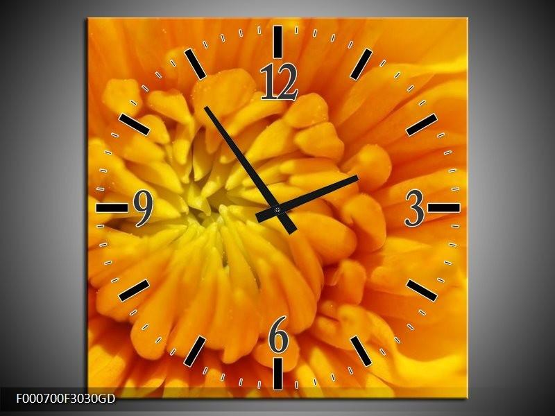 Wandklok op Glas Bloem | Kleur: Oranje, Wit, Geel | F000700CGD