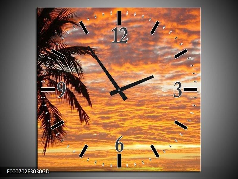Wandklok op Glas Zonsondergang | Kleur: Geel, Zwart, Oranje | F000702CGD