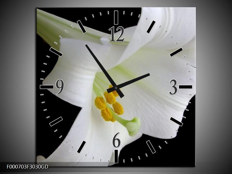 Wandklok op Glas Bloem | Kleur: Wit, Zwart, Geel | F000703CGD