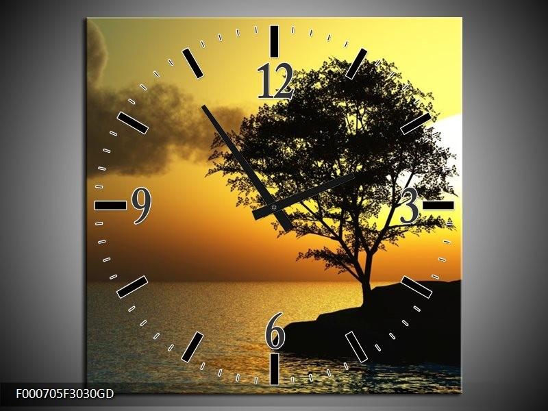 Wandklok op Glas Zonsondergang | Kleur: Zwart, Geel, Grijs | F000705CGD