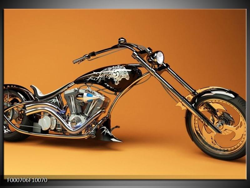 Glas schilderij Motor | Oranje, Bruin, Zwart