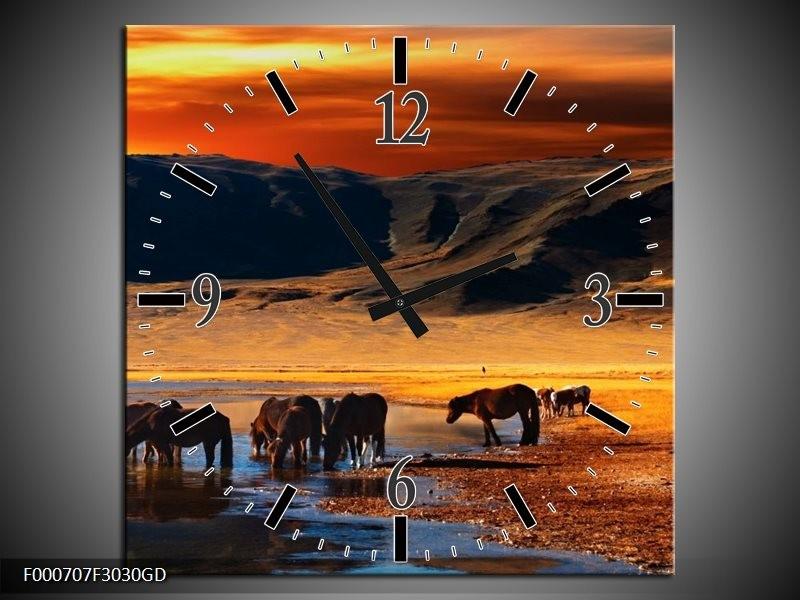 Wandklok op Glas Paarden | Kleur: Oranje, Rood, Blauw | F000707CGD