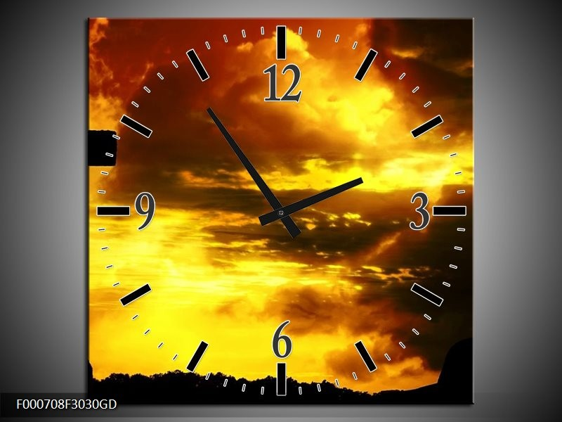 Wandklok op Glas Zonsondergang | Kleur: Zwart, Geel, Bruin | F000708CGD