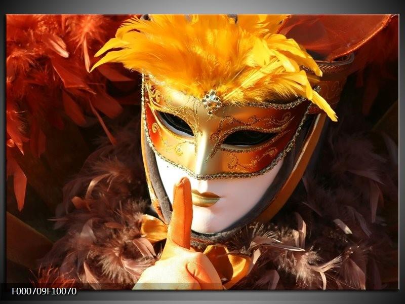Glas schilderij Masker   Geel, Oranje, Wit