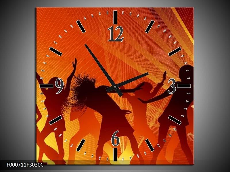 Wandklok op Canvas Dansen   Kleur: Rood, Zwart, Geel   F000711C