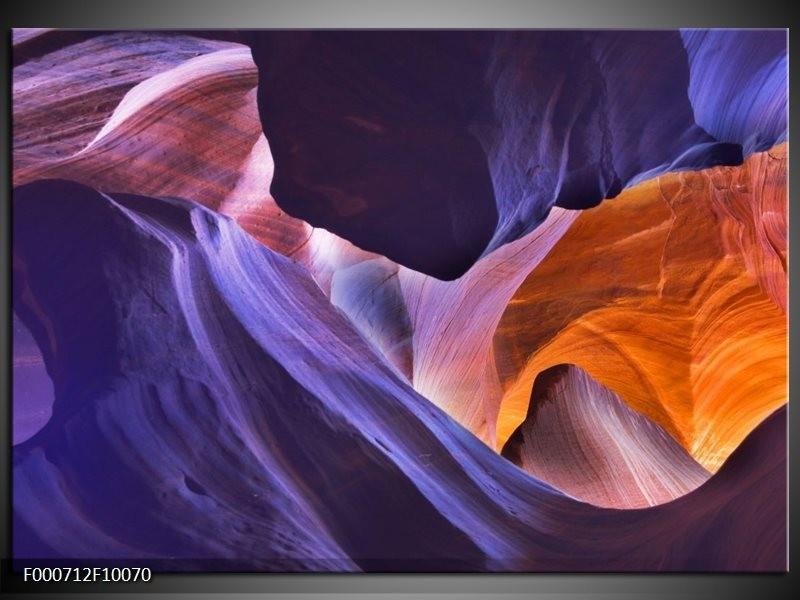 Glas schilderij Abstract | Paars, Geel, Blauw