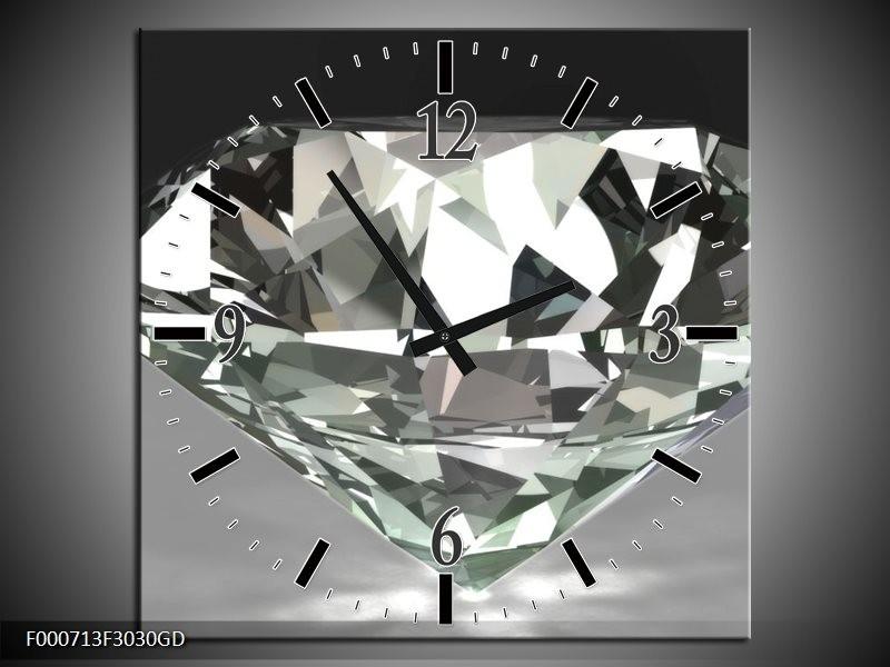 Wandklok op Glas Diamant | Kleur: Grijs, Zilver, Wit | F000713CGD