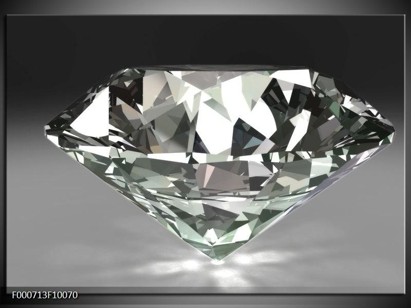 Glas schilderij Diamant | Grijs, Zilver, Wit