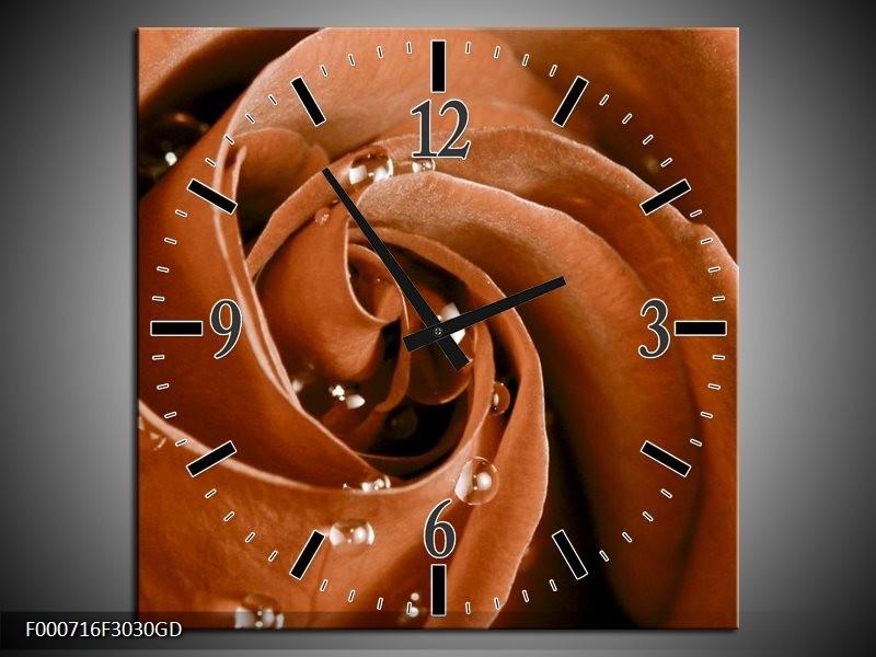 Wandklok op Glas Roos | Kleur: Bruin, Wit | F000716CGD
