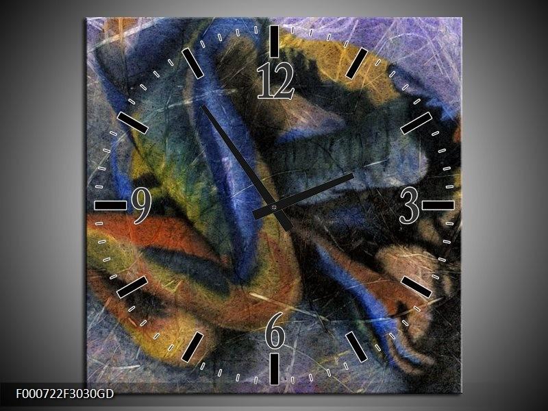 Wandklok op Glas Abstract | Kleur: Blauw, Grijs, Groen | F000722CGD