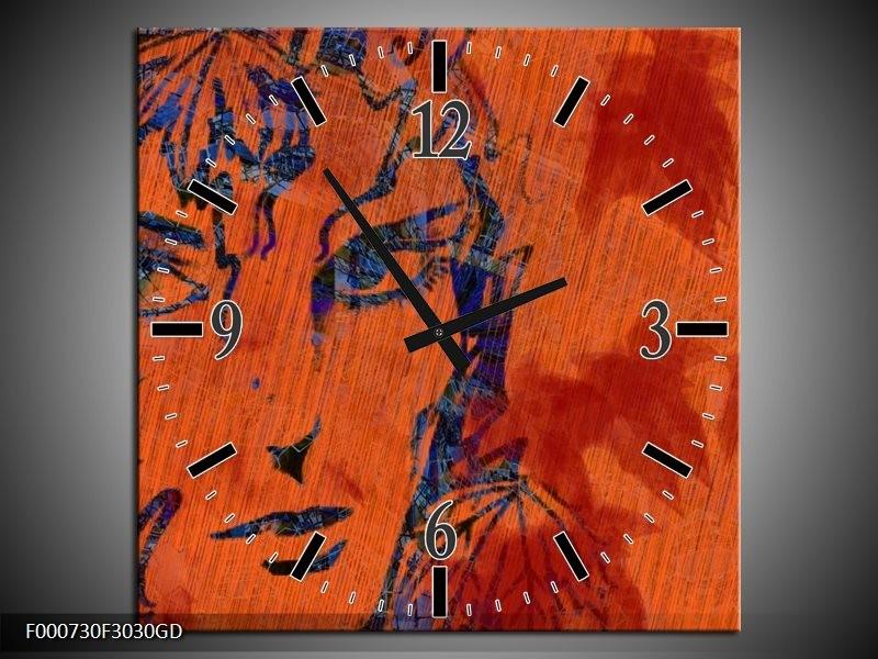 Wandklok op Glas Abstract | Kleur: Groen, Oranje, Blauw | F000730CGD