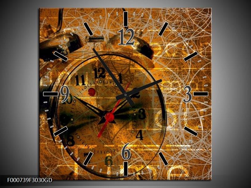 Wandklok op Glas Klok | Kleur: Bruin, Goud, Geel | F000739CGD