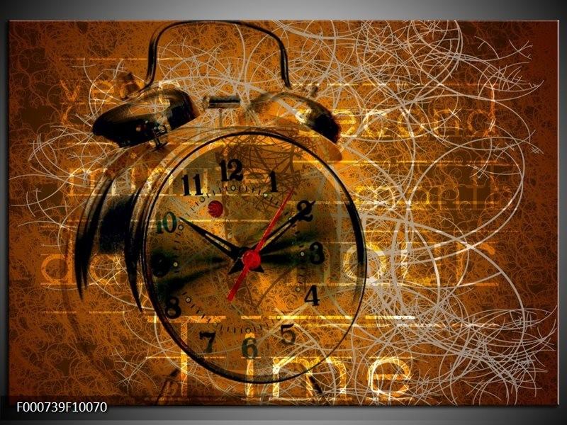 Glas schilderij Klok | Bruin, Goud, Geel