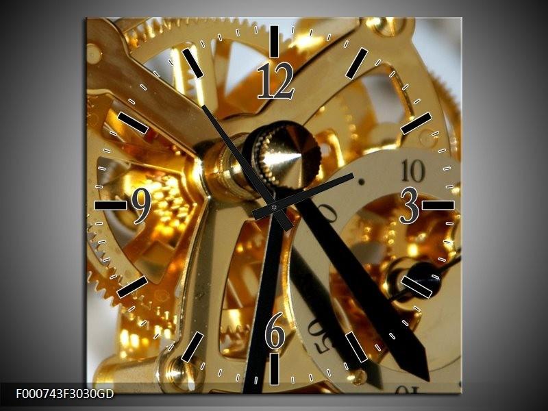 Wandklok op Glas Klok | Kleur: Bruin, Goud, Wit | F000743CGD