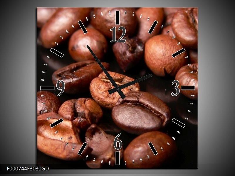Wandklok op Glas Koffie | Kleur: Bruin, Zwart, Wit | F000744CGD