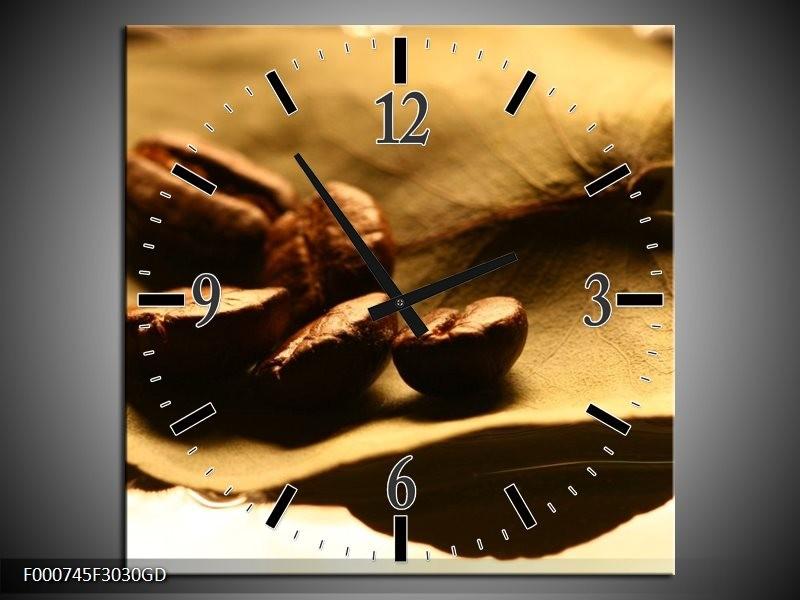 Wandklok op Glas Koffie | Kleur: Bruin, Zwart, Wit | F000745CGD