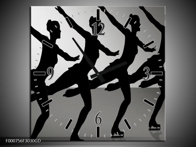 Wandklok op Glas Dansen | Kleur: Zwart, Wit, Grijs | F000756CGD