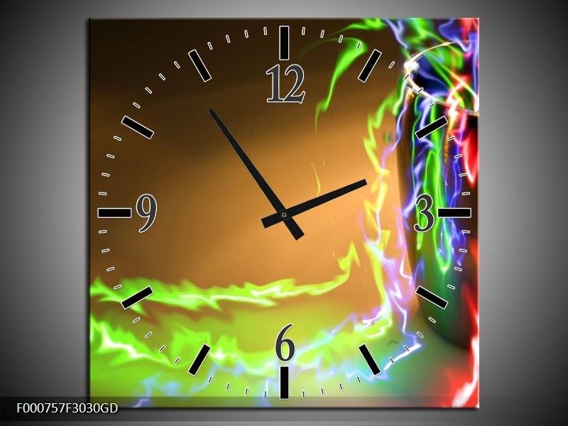 Wandklok op Glas Abstract | Kleur: Groen, Bruin, Rood | F000757CGD