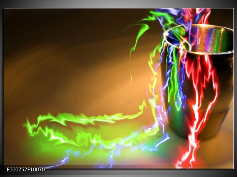 Glas schilderij Abstract   Groen, Bruin, Rood