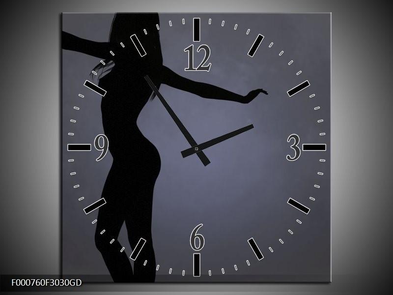Wandklok op Glas Vrouw | Kleur: Zwart, Grijs, Wit | F000760CGD