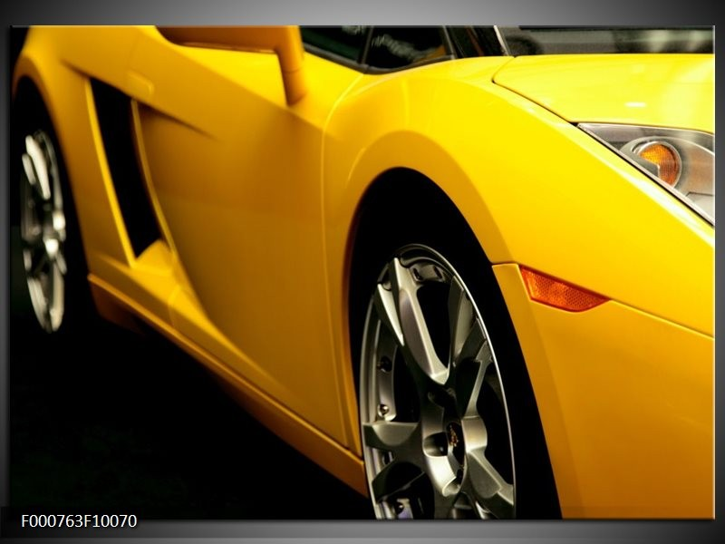 Glas schilderij Auto | Geel, Zwart, Wit