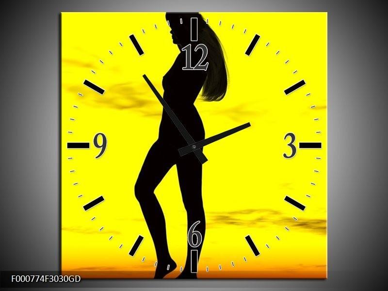 Wandklok op Glas Vrouw | Kleur: Geel, Zwart | F000774CGD