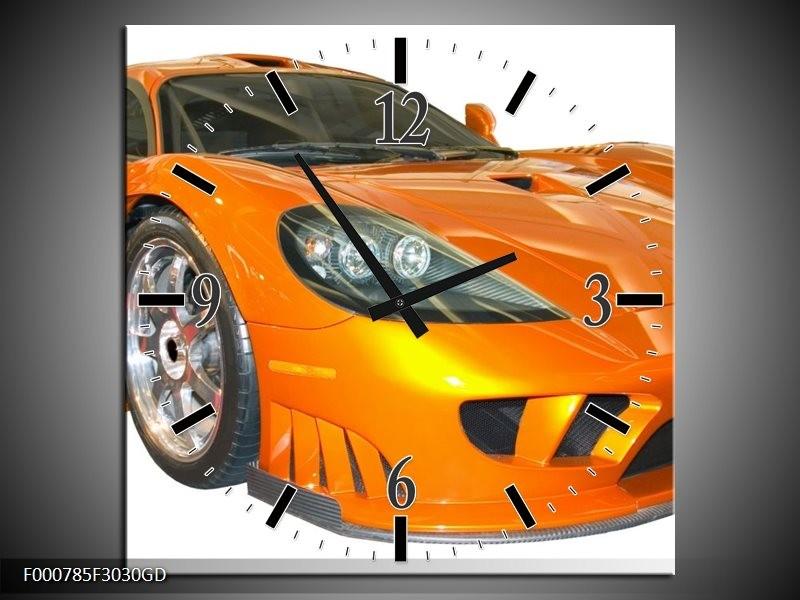 Wandklok op Glas Auto | Kleur: Geel, Oranje, Wit | F000785CGD