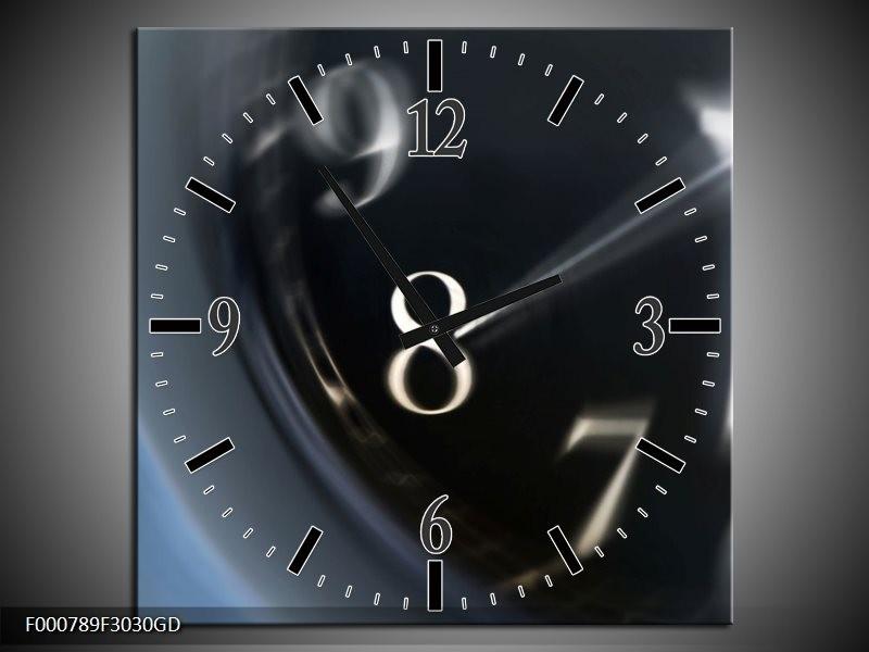 Wandklok op Glas Klok | Kleur: Zwart, Wit, Grijs | F000789CGD