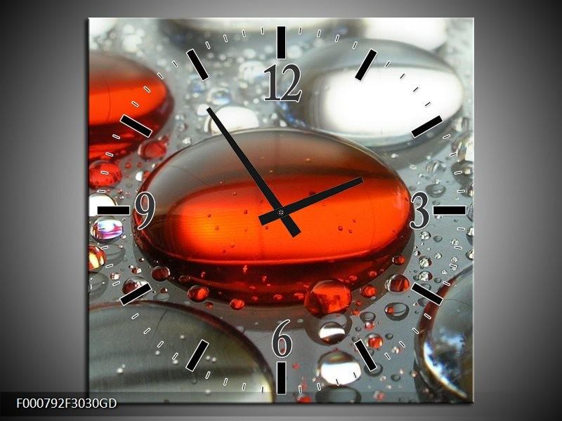 Wandklok op Glas Druppels | Kleur: Rood, Wit, Grijs | F000792CGD