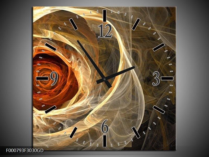 Wandklok op Glas Roos | Kleur: Geel, Oranje, Bruin | F000793CGD