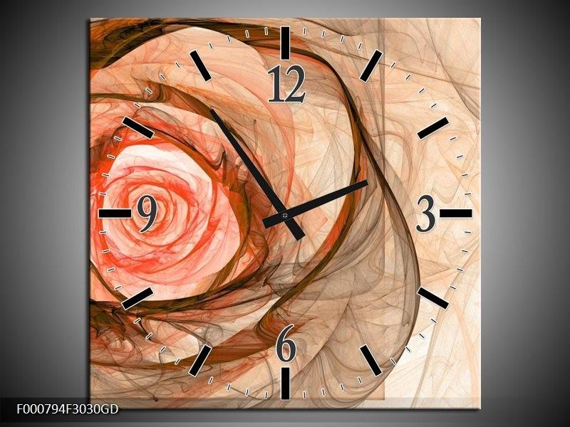 Wandklok op Glas Roos   Kleur: Rood, Bruin, Zwart   F000794CGD
