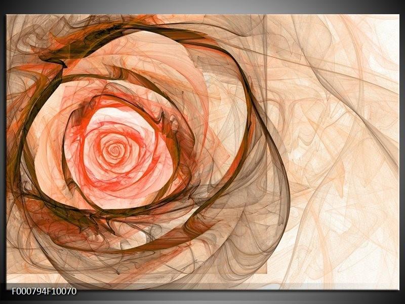 Glas schilderij Roos | Rood, Bruin, Zwart