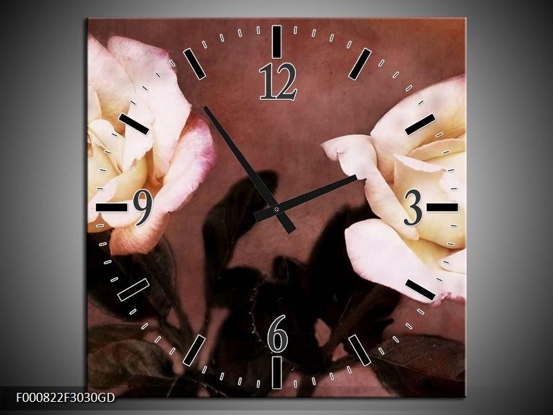 Wandklok op Glas Roos | Kleur: Bruin, Wit, Zwart | F000822CGD