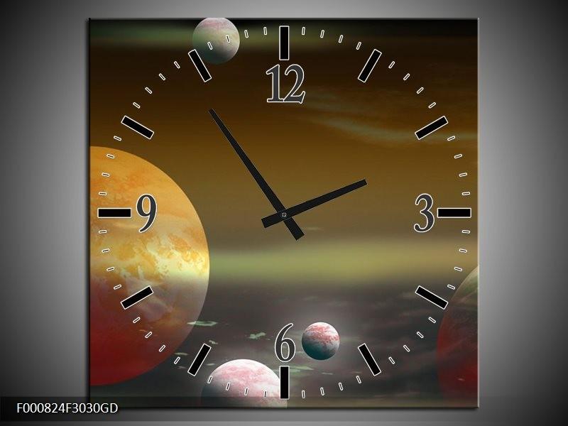 Wandklok op Glas Planeet | Kleur: Geel, Groen, Grijs | F000824CGD