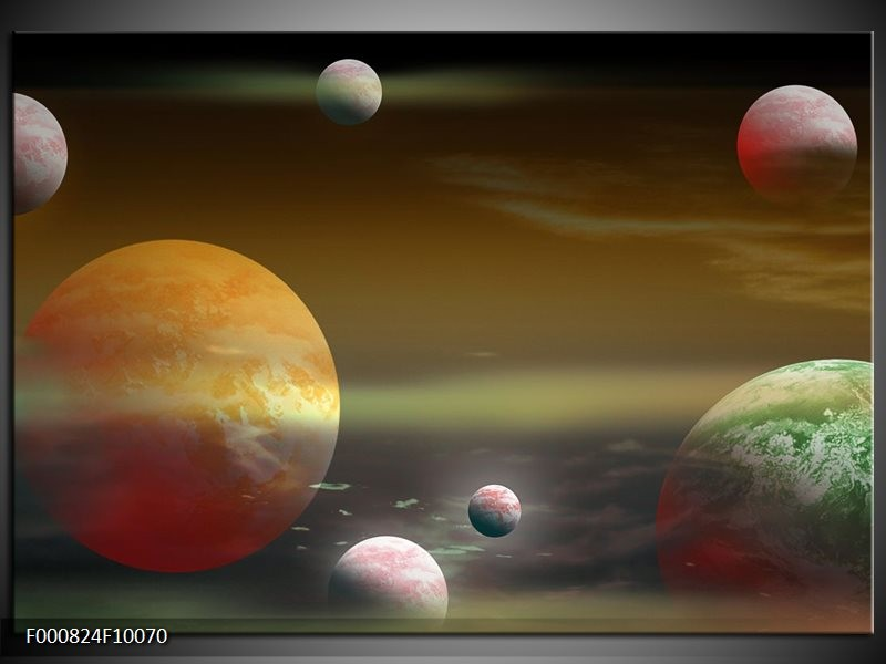 Glas schilderij Planeet | Geel, Groen, Grijs