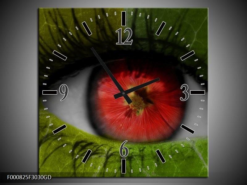 Wandklok op Glas Ogen | Kleur: Groen, Rood, Zwart | F000825CGD
