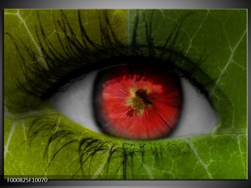 Glas schilderij Ogen | Groen, Rood, Zwart