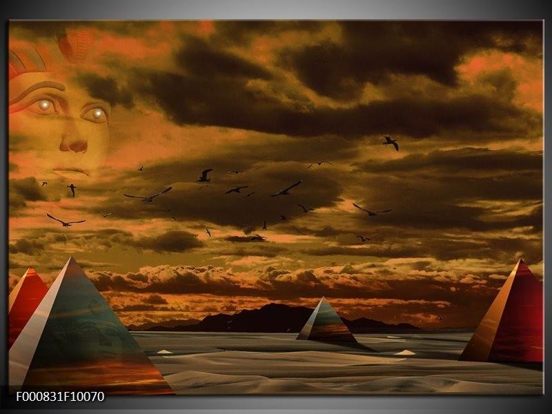 Glas schilderij Piramide | Grijs, Geel, Bruin