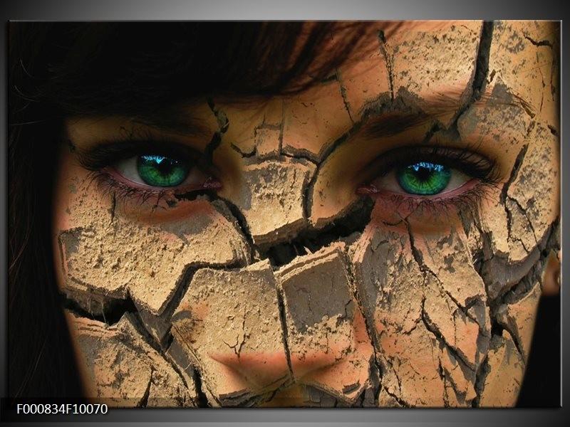 Glas schilderij Gezicht | Bruin, Groen, Zwart