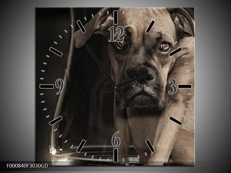 Wandklok op Glas Hond | Kleur: Grijs, Zwart, Wit | F000840CGD