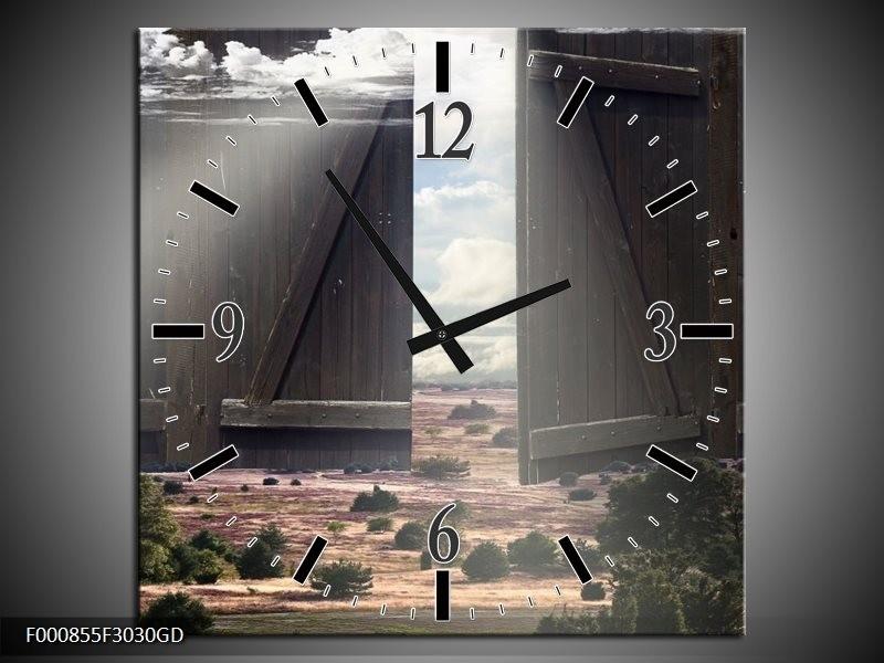 Wandklok op Glas Poort | Kleur: Wit, Grijs, Groen | F000855CGD