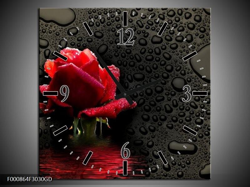 Wandklok op Glas Roos | Kleur: Rood, Zwart, Wit | F000864CGD