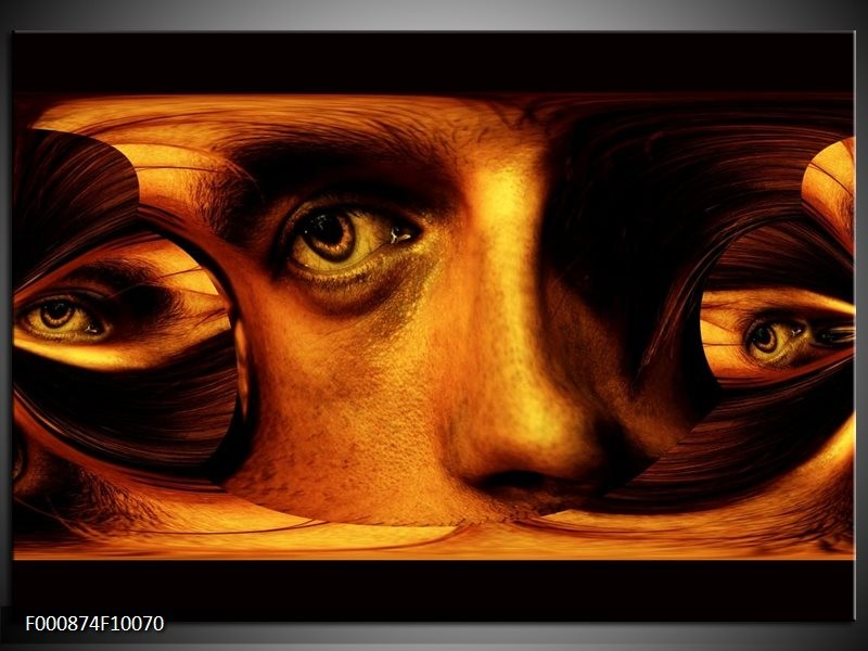 Glas schilderij Gezicht   Bruin, Geel, Zwart