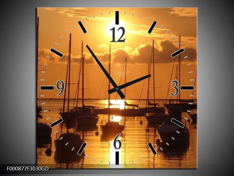 Wandklok op Glas Boot | Kleur: Geel, Zwart, Wit | F000877CGD