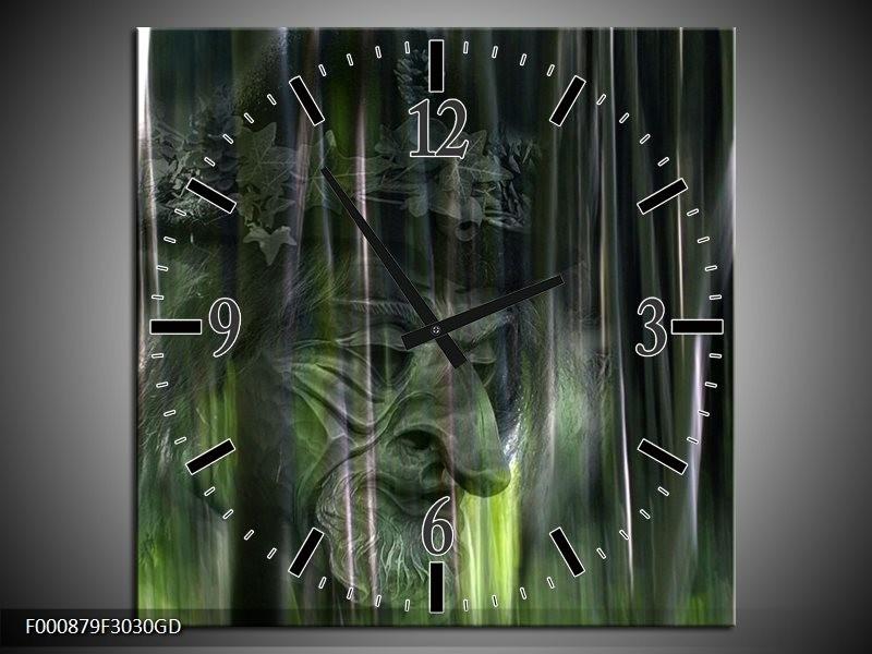 Wandklok op Glas Abstract | Kleur: Groen, Zilver, Wit | F000879CGD