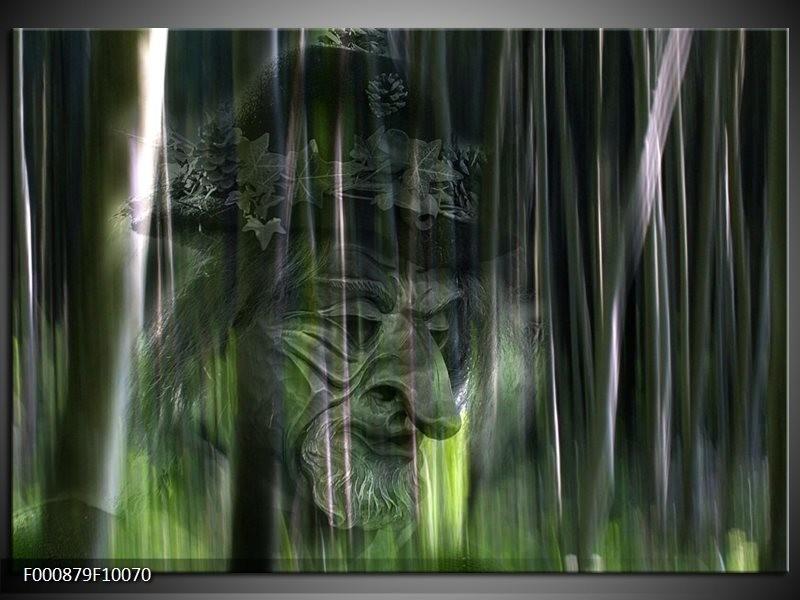 Glas schilderij Abstract | Groen, Zilver, Wit
