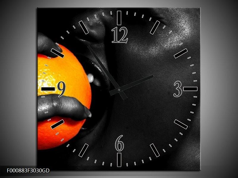 Wandklok op Glas Gezicht | Kleur: Oranje, Zwart, Wit | F000883CGD